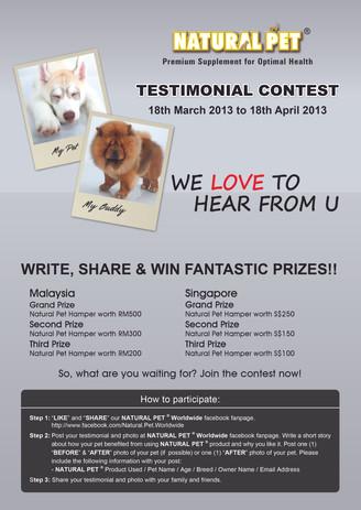 Testimonial Contest 2013