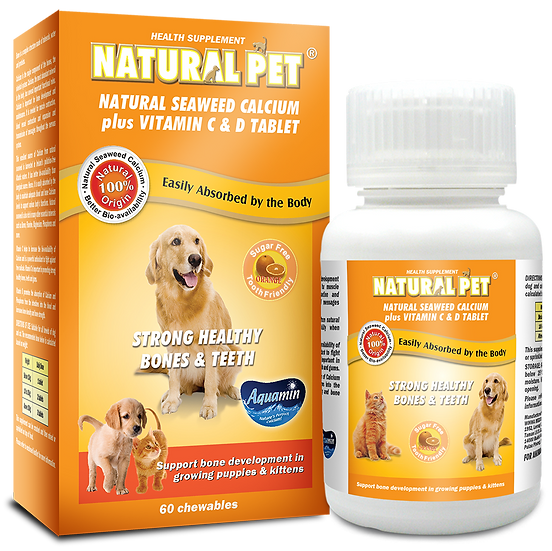 Natural Pet Natural Seaweed Calcium Plus Vitamin C & D Tablet