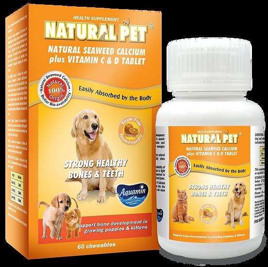 Natural Pet Natural Seaweed Calcium Plus Vitamin C & D Tablet