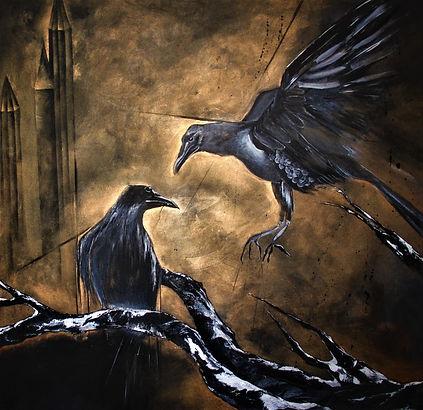 Auftragsarbeit/ Schwarze Vögel/Acryl auf Leinwand/ 100x100cm