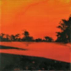 Landschaft orange/rot Acryl auf Leinwand/ 20x20cm