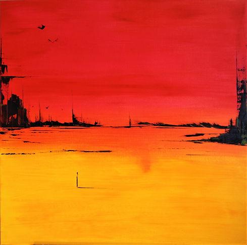 Landschaft rot/orange/gelb Acryl auf Leinwand/ 80x80x4cm