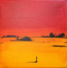 Landschaft rot/ gelb Acryl auf Leinwand/ 20x20cm