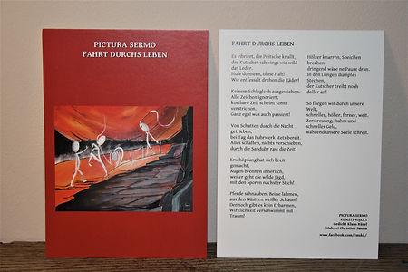 Kunstkarte FAHRT DURCHS LEBEN DIN A6/ beidseitig bedruckt 2,50-€ plus Versand