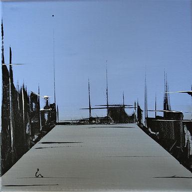 Landschaft blau/grau Acryl auf Leinwand/ 20x20cm