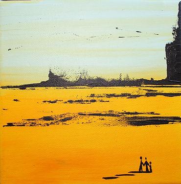 Landschaft arktisblau/ gelb Acryl auf Leinwand/ 20x20cm