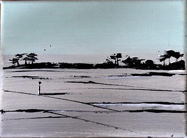 Landschaft arktisblau/grau Acryl auf Leinwand/ 24x18cm