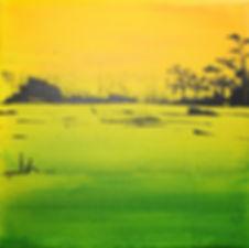 Landschaft gelb/ grün Acryl auf Leinwand/ 20x20cm