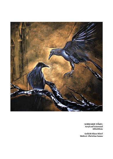 Schwarze_Vögel/ Acryl auf Leiwand/ 100x100x4cm/ PICTURA SERMO