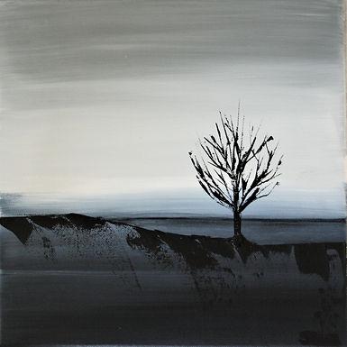 Landschaft grau/weiß/paynesgrau Acryl auf Leinwand/ 20x20cm
