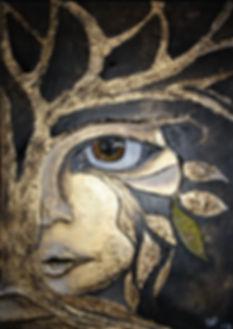 Die Natur der Frau Acryl & Marmormehl auf Leinwand/ 40x50cm