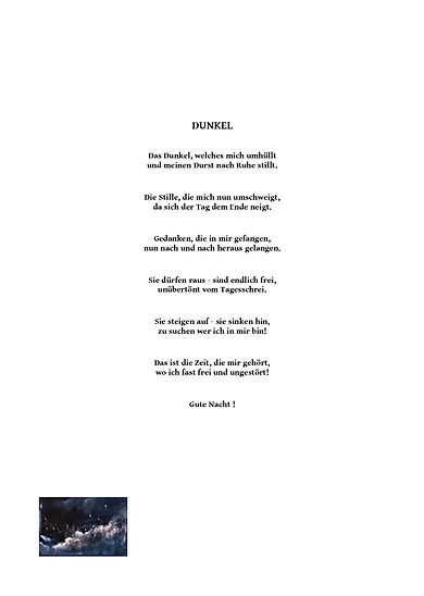 Dunkel/ Gedicht von Klaus Küsel/ PICTURA SERMO