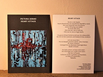 Kunstkarte HEART ATTACK DIN A6/ beidseitig bedruckt 2,50-€ plus Versand
