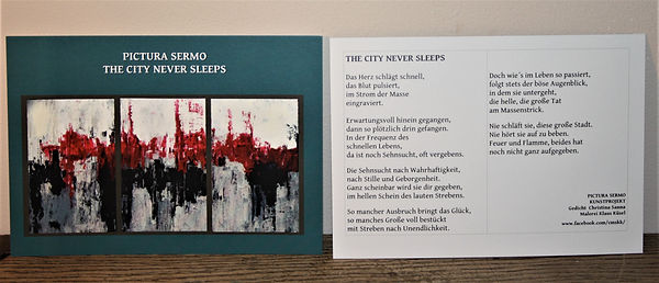 Kunstkarte THE CITY NEVER SLEEPS DIN A6/ beidseitig bedruckt 2,50-€ plus Versand
