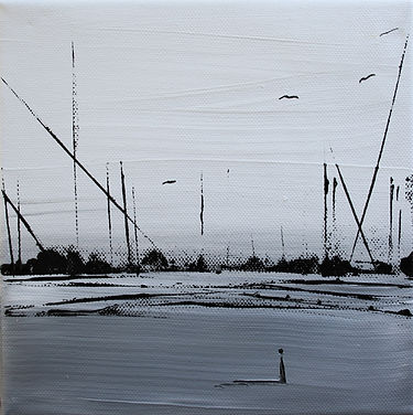 Landschaft weiß/ grau Acryl auf Leinwand/ 20x20cm