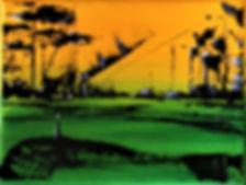 Landschaft gelb/grün Acryl auf Leinwand/ 24x18cm