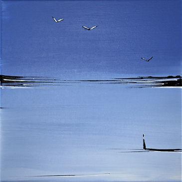 Landschaft blau/weiß Acryl auf Leinwand/ 20x20cm