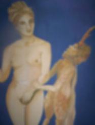 Aphrodite und Pan Acryl auf Leinwand/ 100x80cm