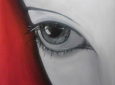 Postkarte Auge red