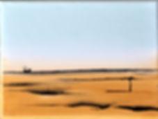 Landschaft arktisblau/helles ocker Acryl auf Leinwand/ 24x18cm