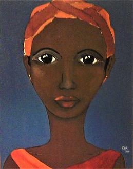 Afrikanische Frau Acryl auf Leinwand/ 100x80cm