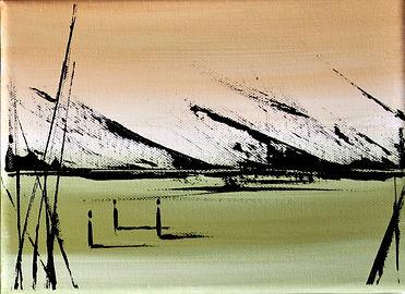 Landschaft beige/olivgrün Acryl auf Leinwand/ 24x18cm