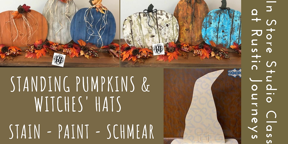 Standing Faux Barnwood Pumpkins & Witches' Hats  9/19
