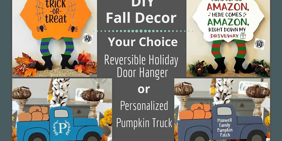 Reversible Holiday Door Hanger OR Personalized Pumpkin Truck 10/4