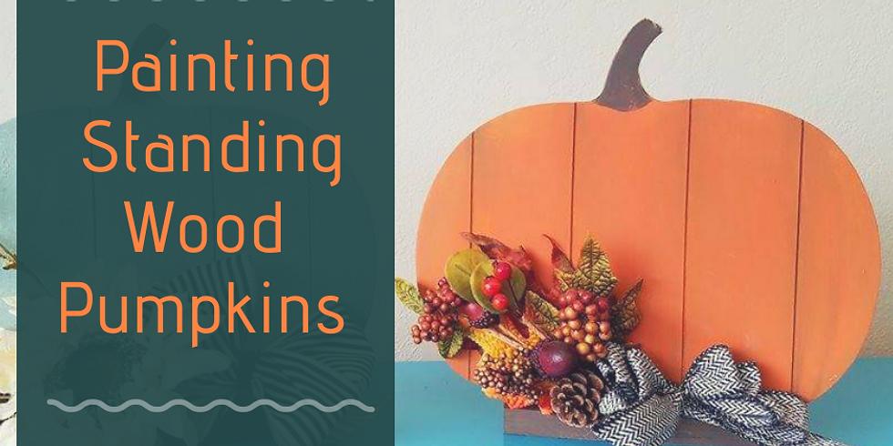 Painting Standing Wood Pumpkins 10/20