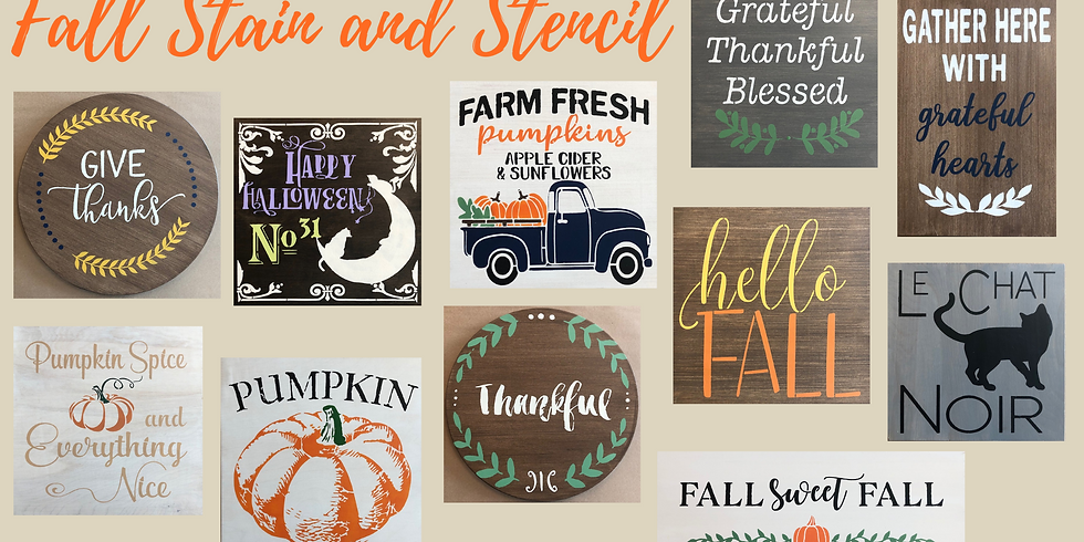 Fall Stain and Stencil Wood Sign 9/25
