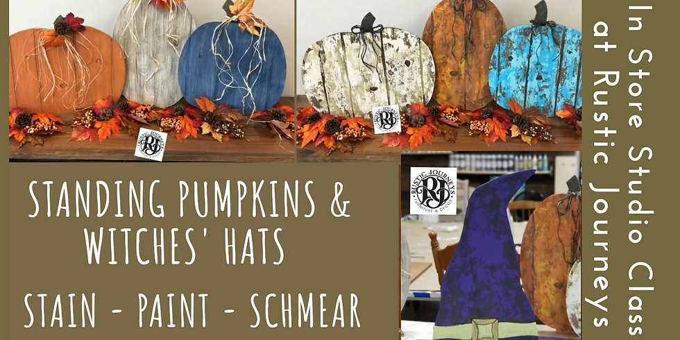 Standing Faux Barnwood Pumpkins & Witches' Hats  10/18