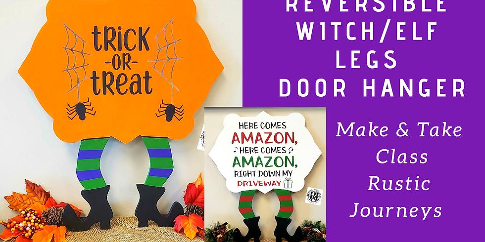 Reversible Witch/Elf Legs Door Hanger