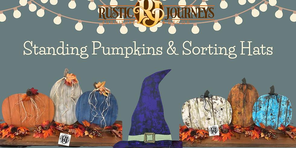 Standing Faux Barn wood Pumpkins & Sorting Hats