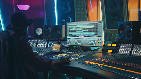 Portrait of Audio Engineer Working in Mu