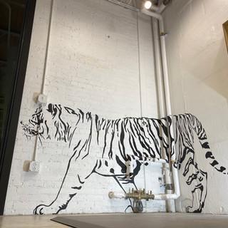 Tiger mural for Arcadia Salon