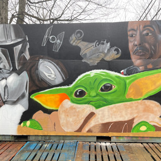 The Mandolorian themed mural (work in progress photo)