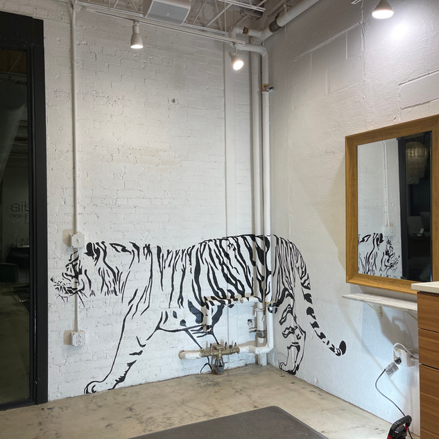 Tiger mural Arcadia Salon