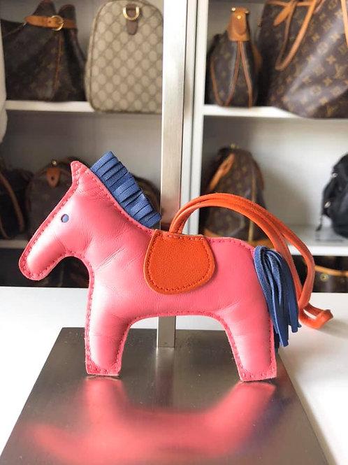 Hermes Rose Azalea/Bleu de Malte/Cornelian Lambskin Rodeo Charm