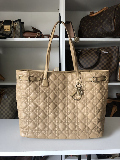 Christian Dior Coated Canvas Cannage Quilted Medium Panarea Tote