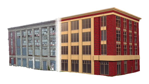 Shown here is the transformation from point cloud to Revit model. The point cloud is the raw data collected from laser scanning. On the left side shows the scanned data, and the right side is the completed Revit model.