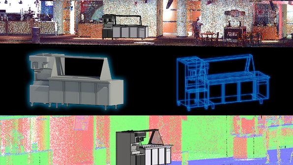 Laser scanning allows you to view locations digitally in order to plan renovations or quote vendors for events.  Shown here is an example of how a 3D model can be injected directly into the existing point cloud data.  The benefits of using this approach includes proper time management from not having to be on-site, cutting cost on excess inventory from modeling ahead of time, and accurate measurements of the facility from the point cloud data collected from laser scanning for future projects.