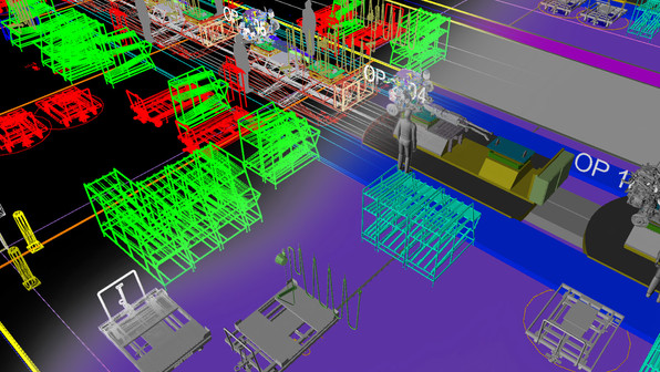 PMC can model sections of facilities varying in level of detail. Shown here is a model created in CAD showcasing a section of an assembly line. The client asked for an accurate count of carts, racks, and operators that are present at each station. An additional benefit of this type of model can be directly imported into simulation software for line evaluation and productivity assessment.
