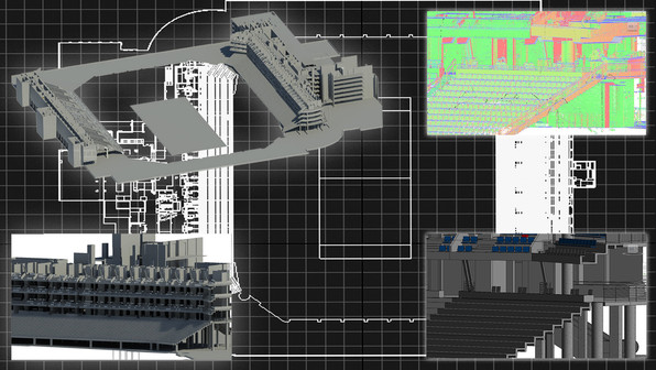 PMC can deliver 3D models on large projects. Shown here is an example of sports stadium fully rendered in a 3D Revit model from point cloud data. This stadium was scheduled to undergo substantial renovations to the bars, luxury suites, and restrooms as well as major structural revisions.  The project was able to be designed and built to a level accuracy and advanced planning not possible with traditional schedules and provided cost savings to our client.