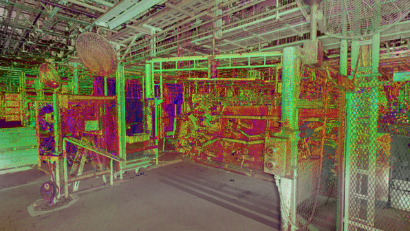 We can create digital twins of even the largest facilities using laser scanning. Having an intelligent model of these large facilities provides the client with current as-built conditions of the facility. Having a digital twin allows for faster renovations or retooling that needs to be done to the plant. Shown here is an example of a complex tooling section of a manufacturing plant modeled in 3D using Factory CAD software.