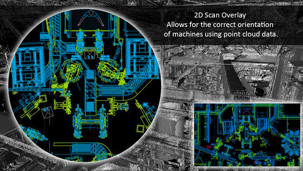 2D scan overlay allows for the correct orientation of machines using point cloud data. We often find the 2D layouts of facilities are incorrect. We compare the point cloud data to the 2D drawings to accurately align the machines, robots, and stations. This provides clients with up-to-date layouts of their facility.