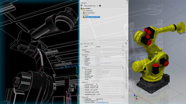 3D Intelligent Model Data: When we create an intelligent model, we can attach large amount of data onto each individual 3D asset. Shown here is an example of a full 3D model robot arm in a manufacturing facility. The middle image highlights several categories of valuable information that are embedded within this asset. Having this information available provides data that can be used during any necessary construction, remodel, retooling or data backup.