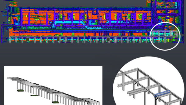 PMC works with large AEC companies who contract their work to us. Shown here is an example of a complex piping system that was laser scanned and modeled using point cloud data. The client needed accurate measurements of this system that is difficult to achieve using traditional measuring methods.