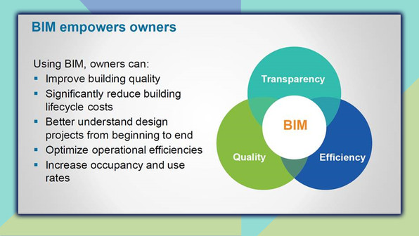 BIM empowers owners. Using BIM, owners can improve building quality, significantly reduce building lifecycle costs, better understand design projects from the beginning to end, optimize operational efficiencies, and increase occpancy and use rates.