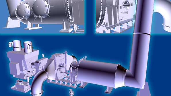 PMC provides highly accurate scan data to create precise 3D models. Using industry standard software including Inventor, Revit, or AutoCAD. Shown here is an example of piece of equipment modeled from point cloud, using laser scanning data.
