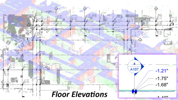 "A by-product of laser scan data is generating floor elevation data, which can be used to discover any floor deviations. Using scan data, PMC can convert and create various reports of floor flatness and deviations from level. Data can be used create a ""heat map"" format of variances in floor levels, but also can be used for ASTM reporting and compliance with the Americans with Disabilities Act (ADA). For all types of projects from renovations to new construction, laser Scanning collects rich, complete and highly accurate as-built data to validate existing building documentation."